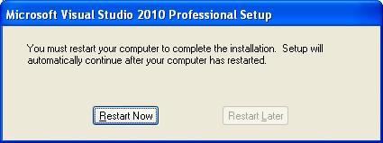 VS 2010 Restart Now
